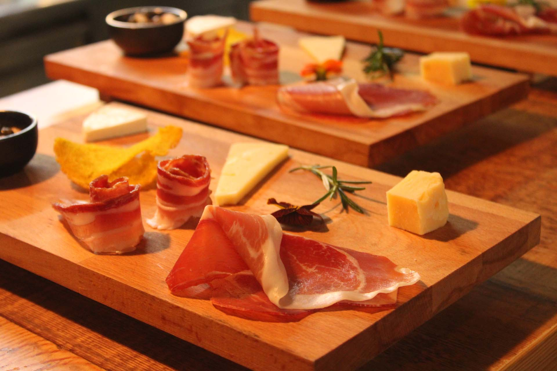 prosciutto and cheese food
